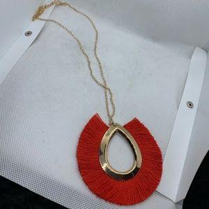 Red & Gold Boho Tassel Pendant Necklace